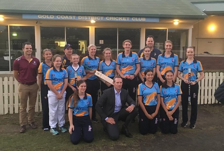 Sports Minister Mick de Brenni and members of the Gold Coast Dolphins club at Kerrydale last night on the Gold Coast.